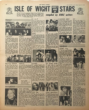 jimi hendrix newspaper 1970 / new musical express / august 29, 1970 / isle of wight festival