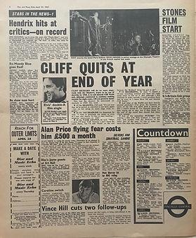 jimi hendrix newspaper 1967/disc music echo 22/4/67