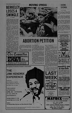 jimi hendrix newspapers 1970 / berkeley barb april 24,1970