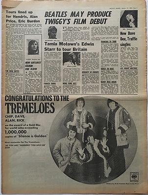 jimi hendrix newspaper/melody maker/tours lined up for hendrix burdon..../27/1/68