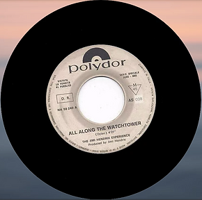 jimi hendrix collector singles vinyls 45r/all along the watchtower juke box promo  ilaly polydor 1968