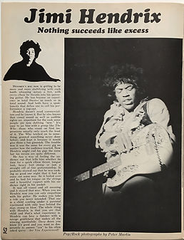 jimi hendrix newspaper 1968/pop rock music december 1968