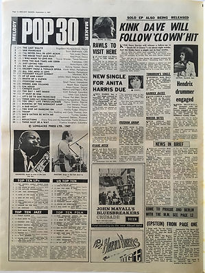 jimi hendrix collector newspaper/melody maker/2/9/67 pop 30/burning of the midnight lamp N°23/are you experienced N° 4 Top10LPs7