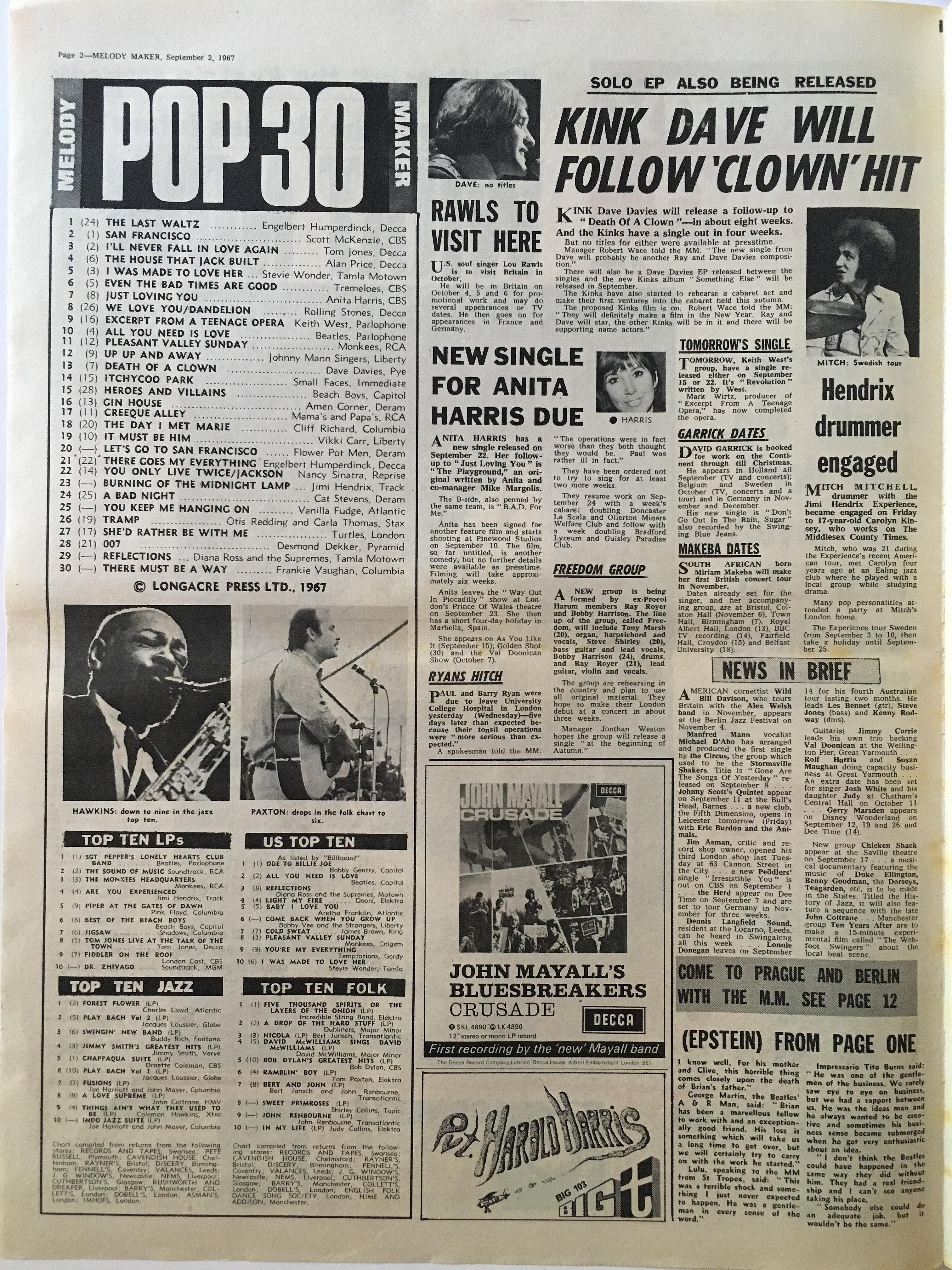 Jimi Hendrix Collector Newspaper/melody Maker/2/9/67 Pop 30/