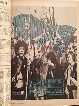 jimi hedrix magazine/cash box 24/6/67 /ad purple haze usa