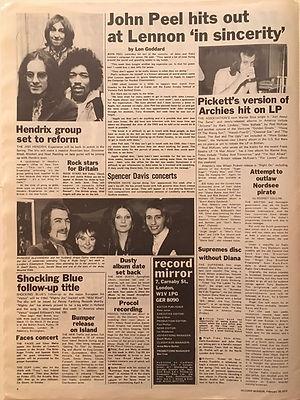 jimi hendrix newspaper 1970 /record mirror  feb. 28, 1970