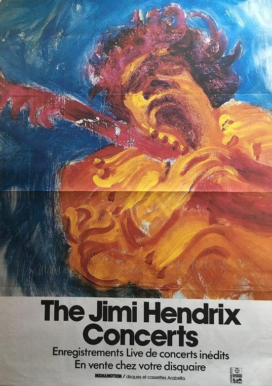 jimi hendrix memorabilia / poster  the jimi hendrix concerts vinyls 1982