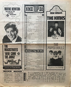 jim hendrix newspaper/new musical express 29/6/1968 top 15 lps smash hits N°6