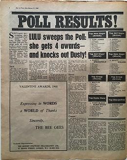 jimi hendrix newspaper/disc music echo 17/2/68 poll results