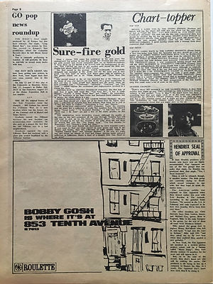 jimi hendrix newspaper/go july 12 1968:hendrix seal of approval: