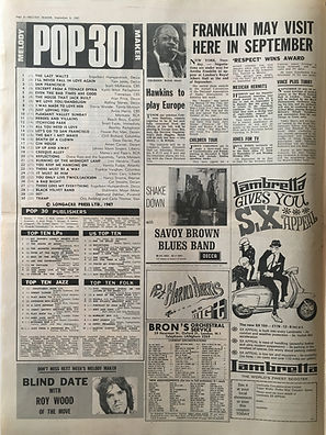 jimi hendrix collector newspapers/ melody maker 9/9/1967 top 30/the burning of midnight lamp N°21/Top LPs are you experienced N°6