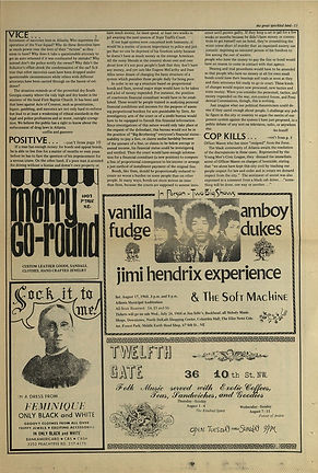 jimi henrix newspaper/the great speckled bird august 2 1968