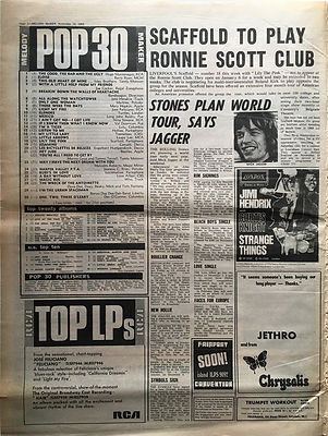 jimi hendrix newspaper 1968/melody maker november 23 1968 top 30