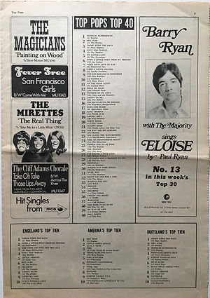 jimi hendrix newspaper/top pops top 40/top pops november 9 1968
