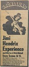 jimi hendrix memorabilia 1970 / ad: concert 1970