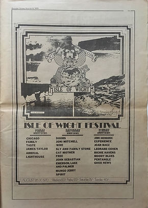 jimi hendrix newspapers 1970 / rolling stone  august 6,1970 / festival isle of wight 70
