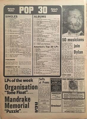 jimi hendrix newspapers 1970 / melody maker  june 13, 1970 / pop 30