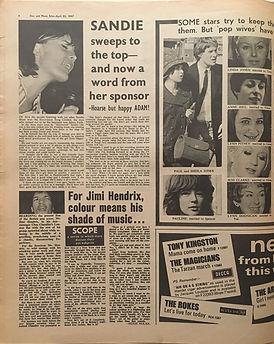 jimi hendrix newspaper 1967/disc music echo april 22 1967