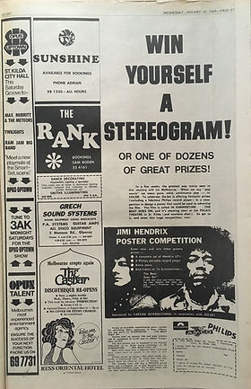 jimi hendrix newspaper 1969/australia /go set: january 15,1969