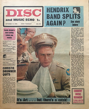 jimi hendrix newspaper 1970 /disc music echo  september 19, 1970 / hendrix band splits again?