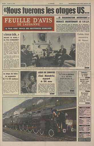 jimi hendrix newspapers 1970 / feuille d'avis de lausanne September 19, 20, & 21  1970