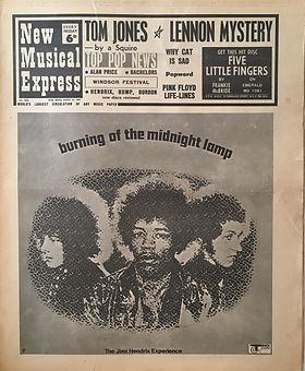 jimi hendrix newspaper collector/new musical express 19/8/1967 burning of the midnight lamp