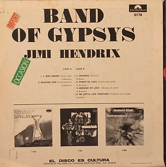 jimi hendrix rotily vinyls collector band of gypsys  1970 venezuela