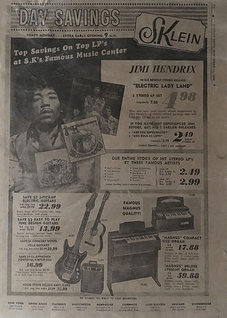 jimi hendrix newspapers 1968 /  sunday news november 10, 1968