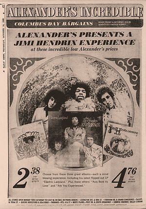 jimi hendrix newspaper 1968/daily news : AD. electric ladyland / october 10  1968