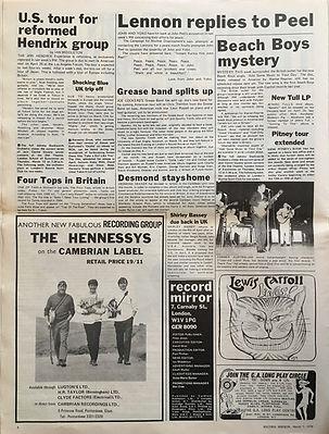 jimi hendrix newspaper 1970 /record mirror  march 7, 1970