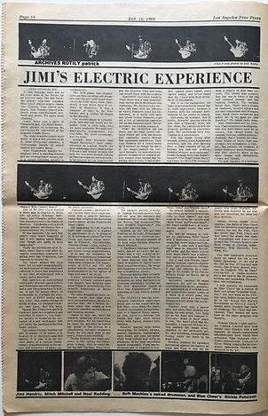 free press los angeles 16/2/1968/jimi hendrix collector newspaper