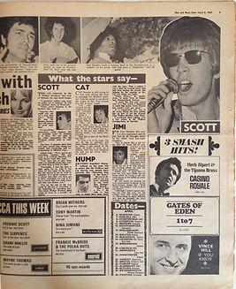 jimi hendrix newspaper collector 1967 / disc music echo april 8, 1967