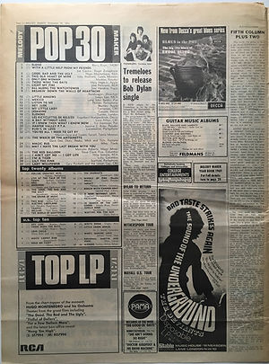 jim hendrix newspaper 1968 / melody maker  pop 30