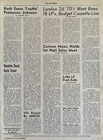 jimi hendrix magazines 1970 / billboard / September 26, 1970