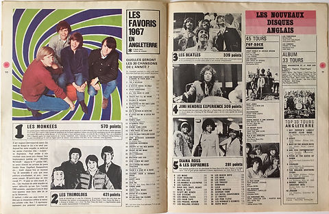 jimi hendrix collector magazines/les rockers N°5/les favoris 1967 en engleterre/N°4 jimi hendrix experience 309 points/france