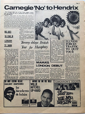 jimi hendrix newspaper 1968/go october 11 1968 : carnegie 'no 'to hendrix