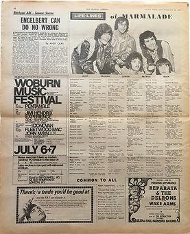 jimi hendrix newspaper/new musical express ad: woburn music festival july 6 & 7 1968