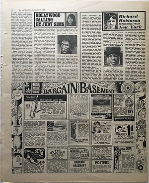jimi hendrix newspaper 1968/disc music echo 21/11/68