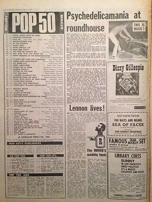 jimi hendrix newspaper/melody maker top 50  /7/1/67