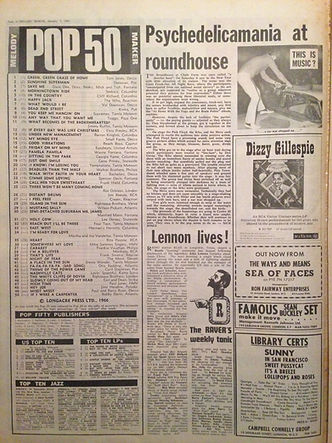 jimi hendrix newspaper/melody maker top 50  /7/1/67