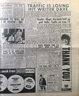 jimi hendrix newspaper/new musical express 9/12/1967