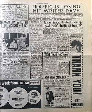 jimi hendrix newspaper/new musical express 9/12/1967