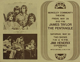 jimi hendrix memorabilia/ flyer 1970/ berkeley 1970