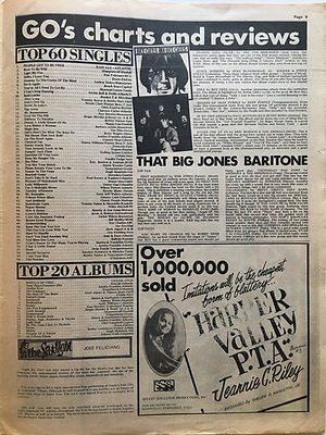 jimi hendrix newspaper/go 23/8/68 top 20 albums: are you experienced N°10