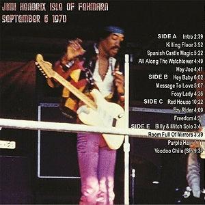 jimi hendrix bootlegs vinyls 1970 / isle of fehrman 09.06.70 2lp