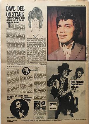 jimi hendrix newspaper/record mirror may 11 1968