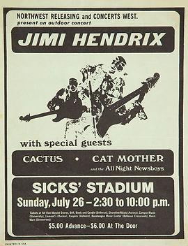 jimi hendrix memorabilia 1970 / flyer concert july 26,1970