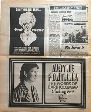 jimi hendrix newspaper/new musical express june 22 1968 swinging hendrix tour