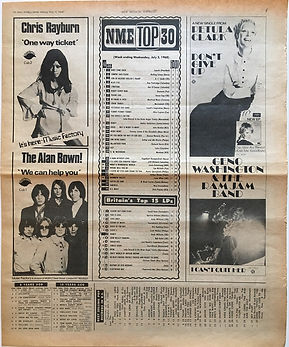 jimi hendrix newspaper/new musical express july 6 1968 top 15 LPs/smash hits N° 9