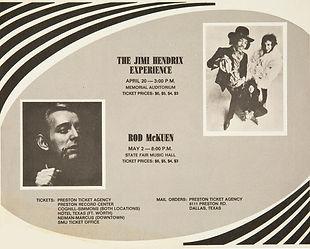 jimi hendrix memorabilia 1969 / ad concert dallas april 20, 1969